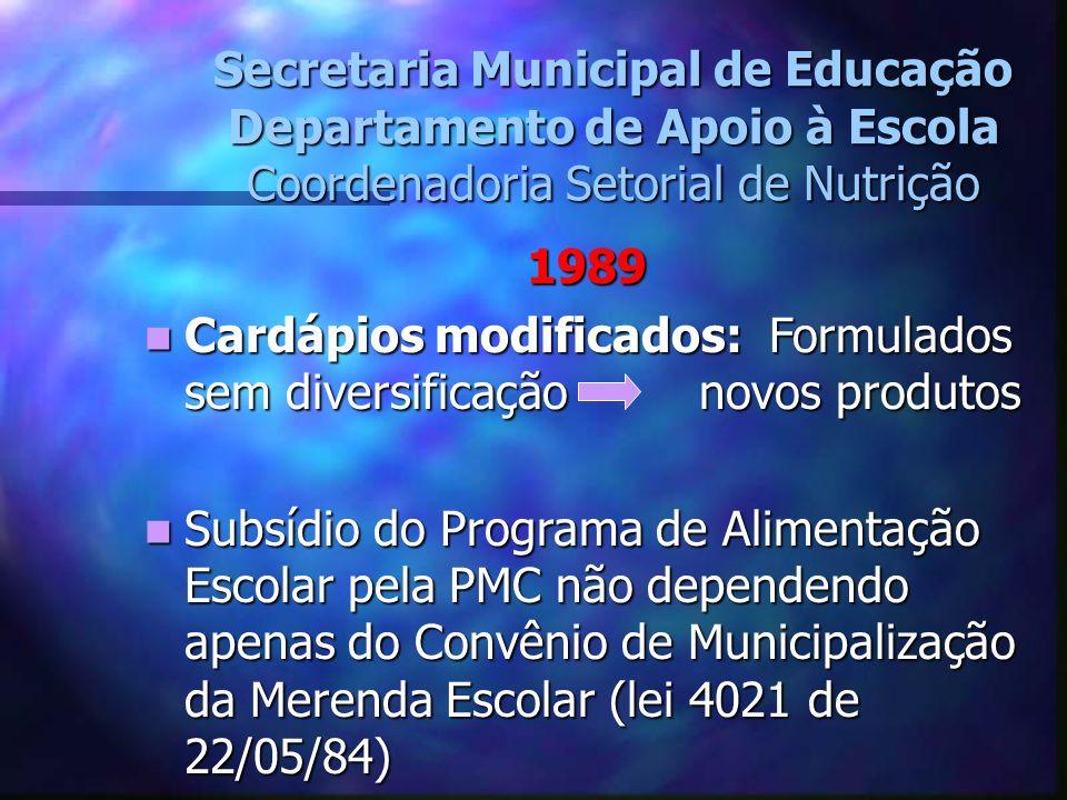 Secretaria Municipal de Educação Departamento de Apoio à Escola Coordenadoria Setorial de Nutrição 1989 Cardápios modificados: Formulados sem diversif