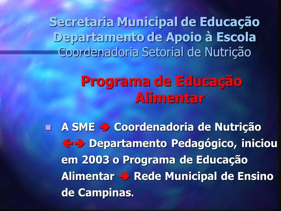 Secretaria Municipal de Educação Departamento de Apoio à Escola Coordenadoria Setorial de Nutrição Programa de Educação Alimentar A SME Coordenadoria