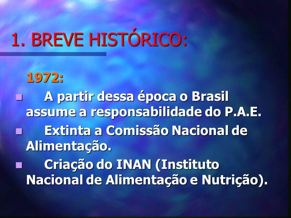 1. BREVE HISTÓRICO: 1972: A partir dessa época o Brasil assume a responsabilidade do P.A.E. A partir dessa época o Brasil assume a responsabilidade do