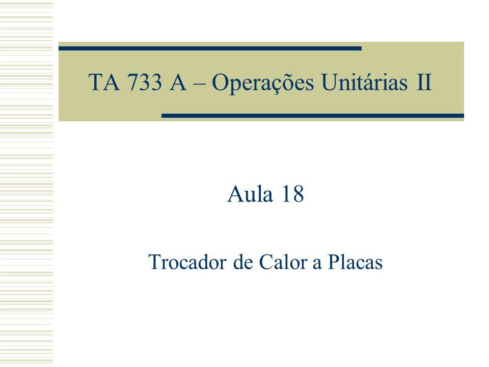 TA 733 A – Operações Unitárias II Aula 18 Trocador de Calor a Placas