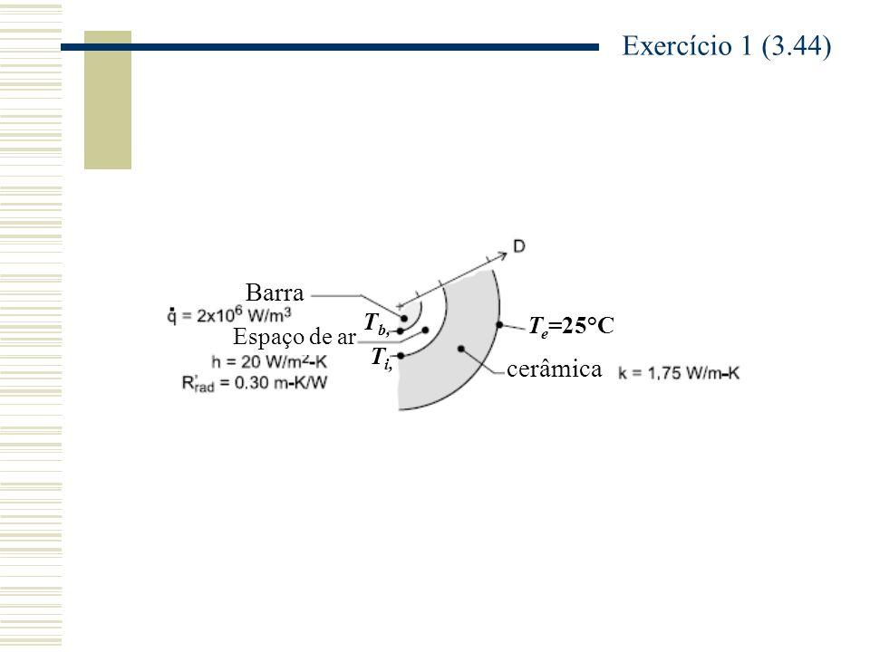 T b, Espaço de ar T i, Barra T e =25°C cerâmica Exercício 1 (3.44)
