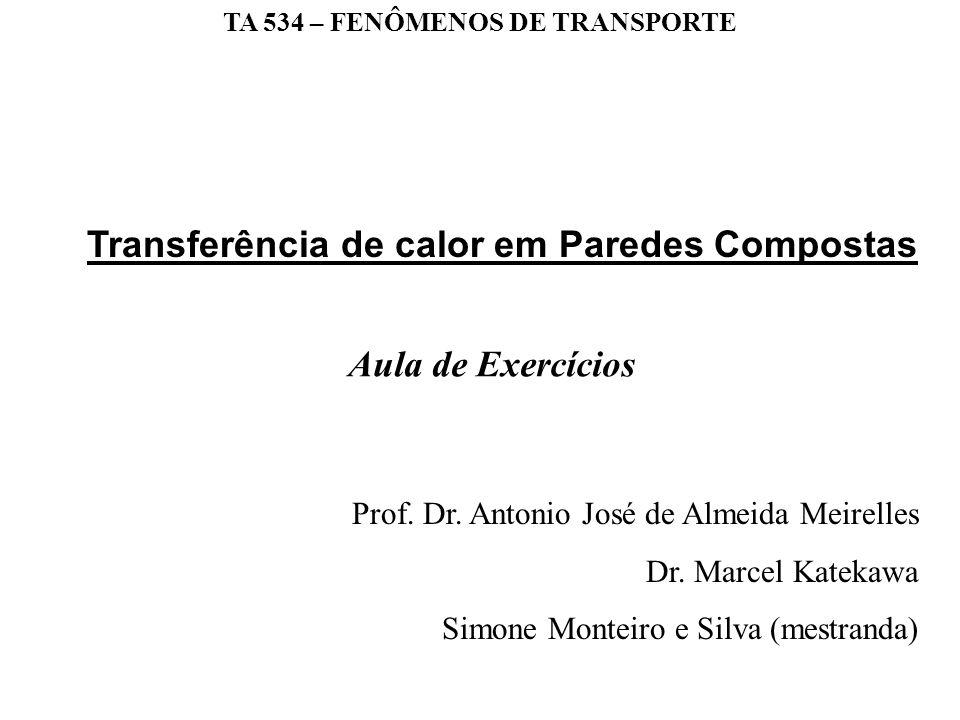 TA 534 – FENÔMENOS DE TRANSPORTE Prof. Dr. Antonio José de Almeida Meirelles Dr. Marcel Katekawa Simone Monteiro e Silva (mestranda) Aula de Exercício