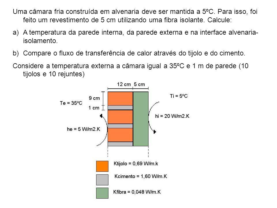 Uma câmara fria construída em alvenaria deve ser mantida a 5ºC. Para isso, foi feito um revestimento de 5 cm utilizando uma fibra isolante. Calcule: a