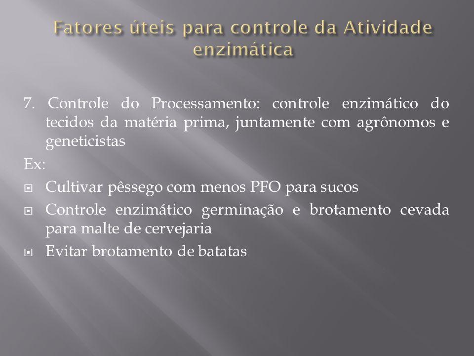 7. Controle do Processamento: controle enzimático do tecidos da matéria prima, juntamente com agrônomos e geneticistas Ex: Cultivar pêssego com menos