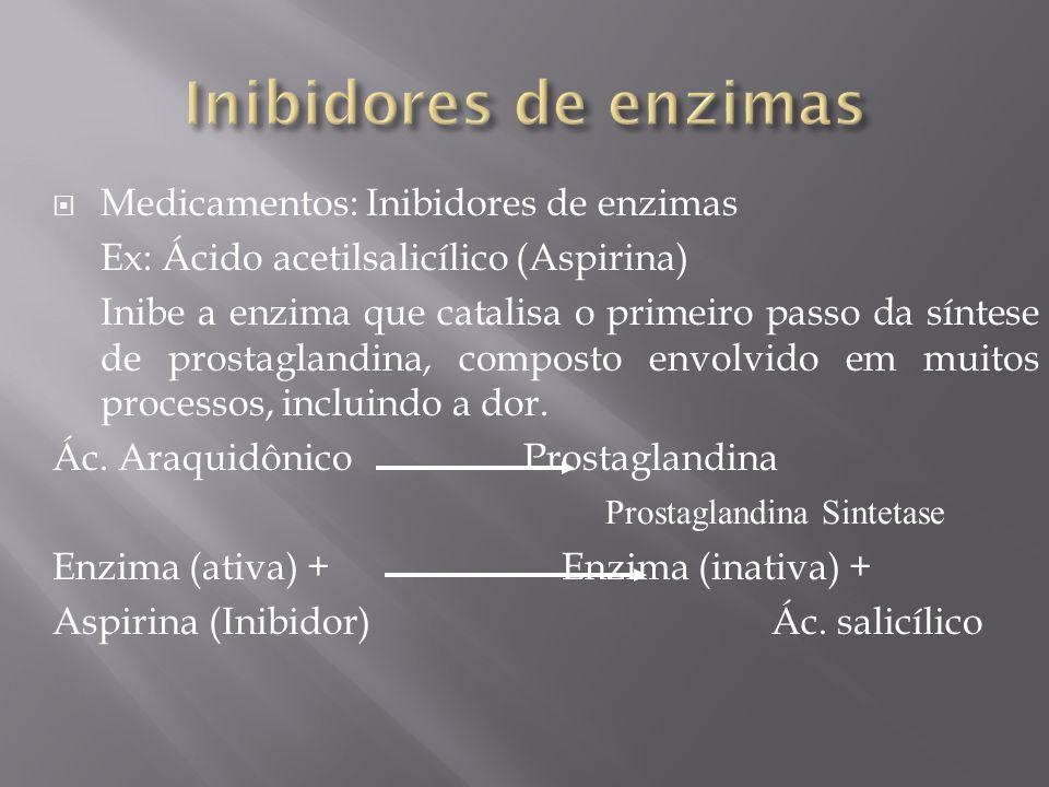 Medicamentos: Inibidores de enzimas Ex: Ácido acetilsalicílico (Aspirina) Inibe a enzima que catalisa o primeiro passo da síntese de prostaglandina, c