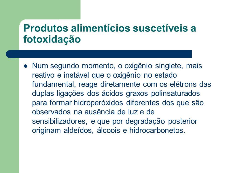 Produtos alimentícios suscetíveis a fotoxidação Num segundo momento, o oxigênio singlete, mais reativo e instável que o oxigênio no estado fundamental