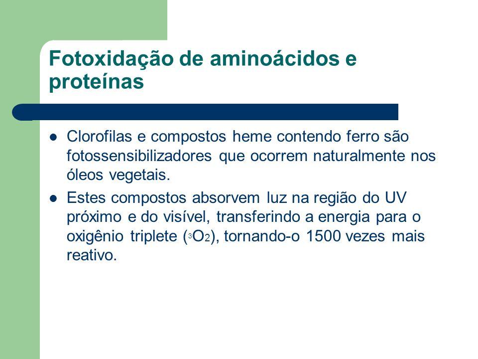Fotoxidação de aminoácidos e proteínas Clorofilas e compostos heme contendo ferro são fotossensibilizadores que ocorrem naturalmente nos óleos vegetai