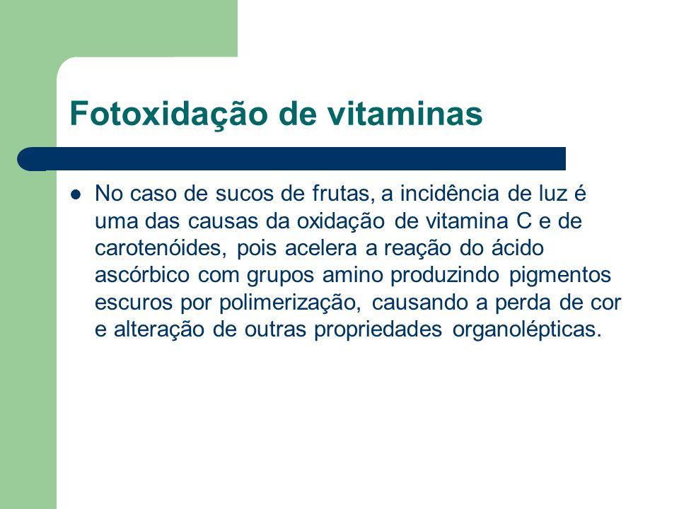 Fotoxidação de vitaminas No caso de sucos de frutas, a incidência de luz é uma das causas da oxidação de vitamina C e de carotenóides, pois acelera a
