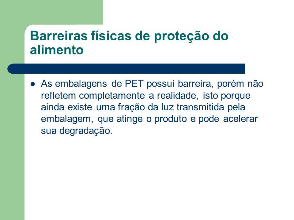 Barreiras físicas de proteção do alimento As embalagens de PET possui barreira, porém não refletem completamente a realidade, isto porque ainda existe