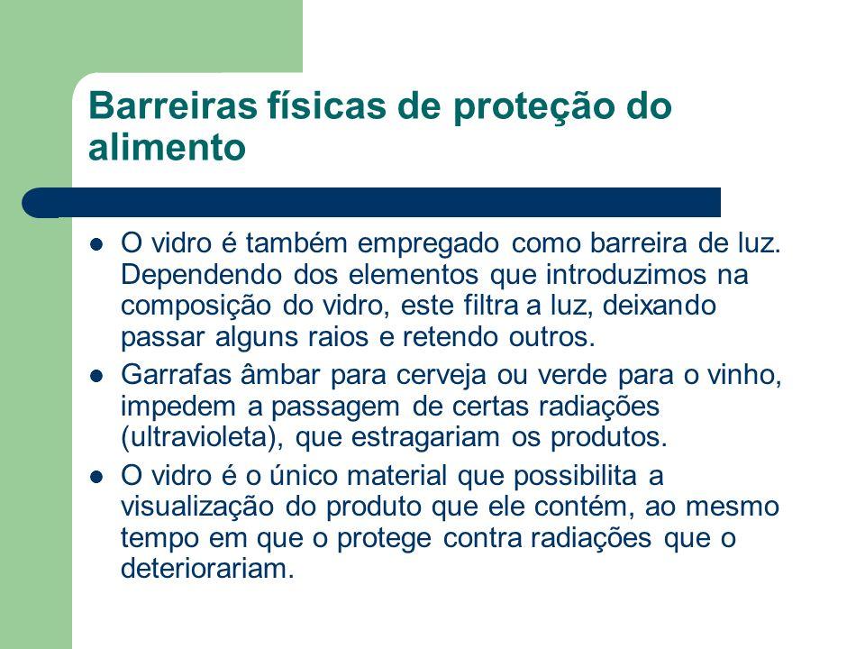 Barreiras físicas de proteção do alimento O vidro é também empregado como barreira de luz. Dependendo dos elementos que introduzimos na composição do