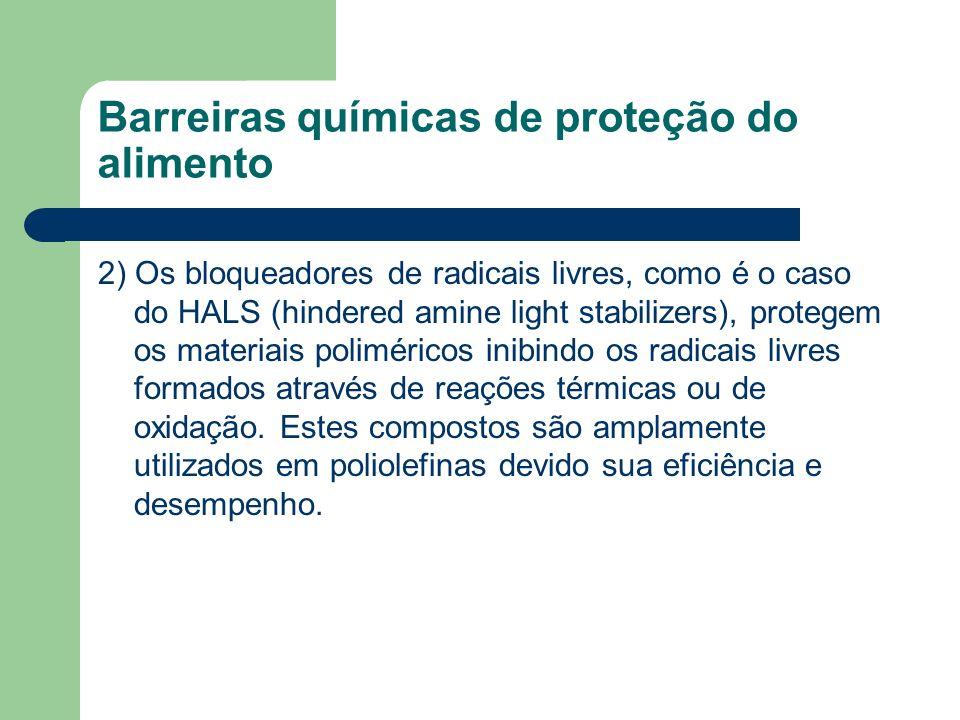 Barreiras químicas de proteção do alimento 2) Os bloqueadores de radicais livres, como é o caso do HALS (hindered amine light stabilizers), protegem o