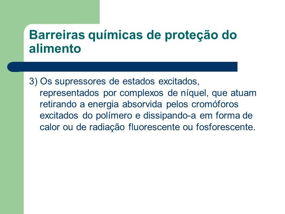 Barreiras químicas de proteção do alimento 3) Os supressores de estados excitados, representados por complexos de níquel, que atuam retirando a energi