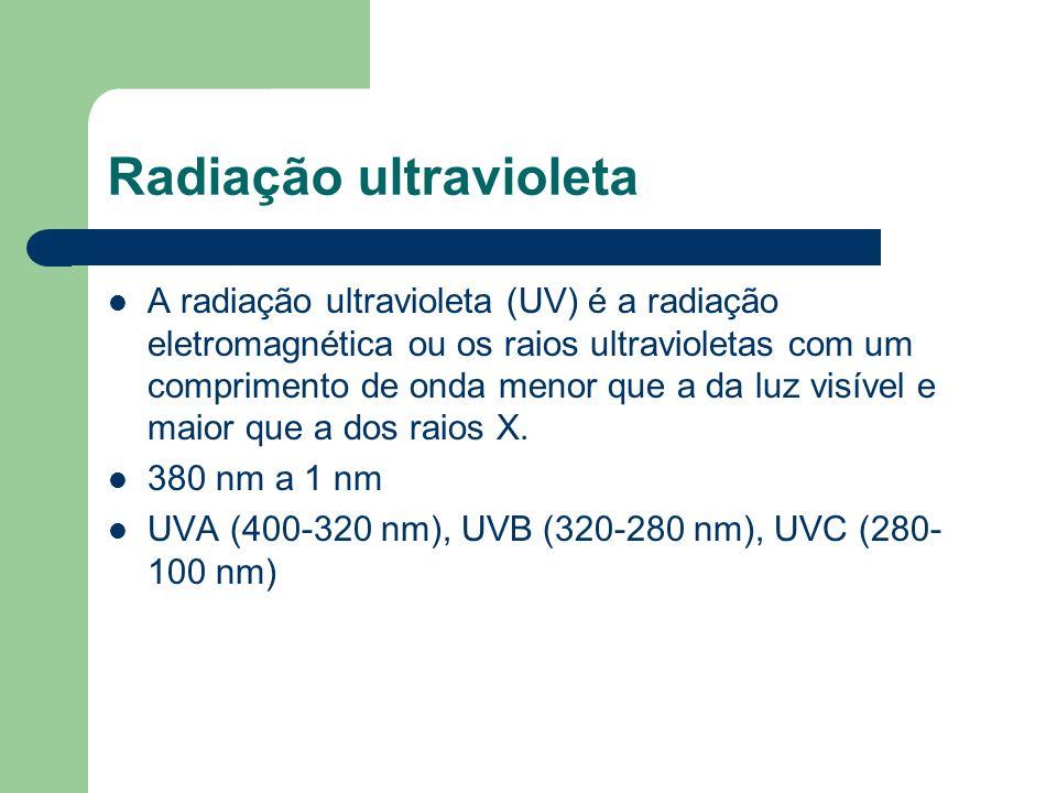 Radiação ultravioleta A radiação ultravioleta (UV) é a radiação eletromagnética ou os raios ultravioletas com um comprimento de onda menor que a da lu