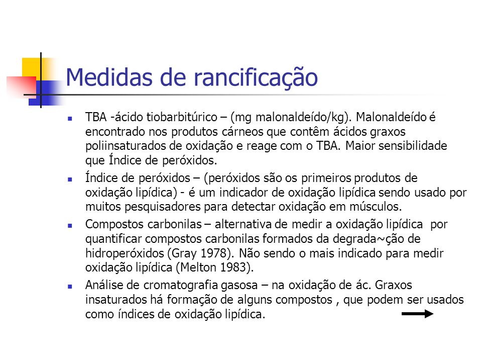 Medidas de rancificação TBA -ácido tiobarbitúrico – (mg malonaldeído/kg). Malonaldeído é encontrado nos produtos cárneos que contêm ácidos graxos poli