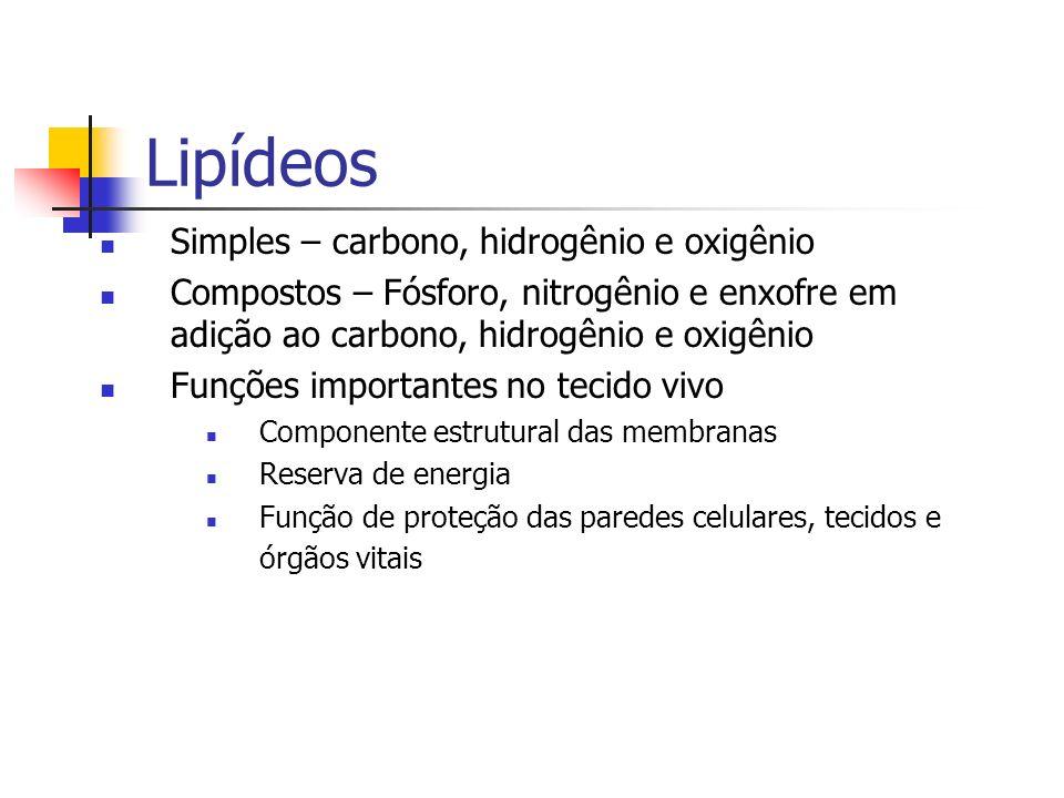 Lipídeos Simples – carbono, hidrogênio e oxigênio Compostos – Fósforo, nitrogênio e enxofre em adição ao carbono, hidrogênio e oxigênio Funções import