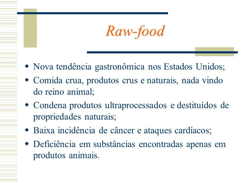 Raw-food Nova tendência gastronômica nos Estados Unidos; Comida crua, produtos crus e naturais, nada vindo do reino animal; Condena produtos ultraproc