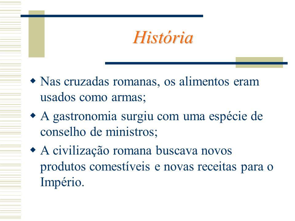 História Nas cruzadas romanas, os alimentos eram usados como armas; A gastronomia surgiu com uma espécie de conselho de ministros; A civilização roman