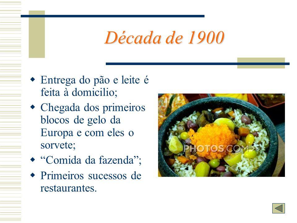 Década de 1900 Entrega do pão e leite é feita à domicilio; Chegada dos primeiros blocos de gelo da Europa e com eles o sorvete; Comida da fazenda; Pri