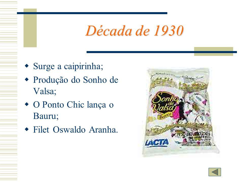 Década de 1930 Surge a caipirinha; Produção do Sonho de Valsa; O Ponto Chic lança o Bauru; Filet Oswaldo Aranha.