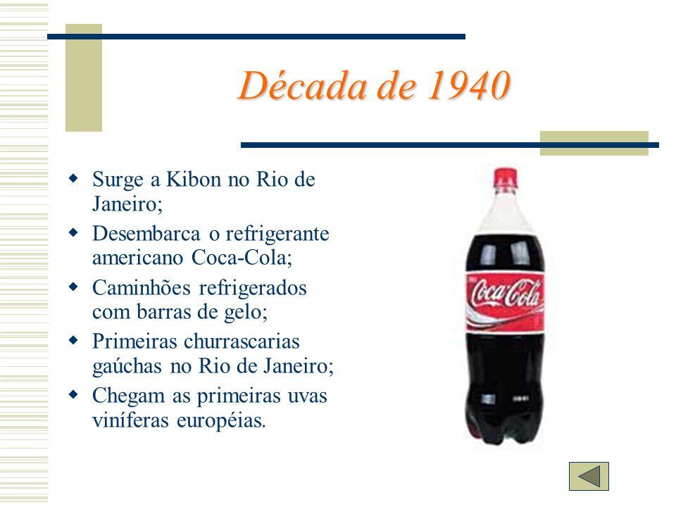 Década de 1940 Surge a Kibon no Rio de Janeiro; Desembarca o refrigerante americano Coca-Cola; Caminhões refrigerados com barras de gelo; Primeiras ch