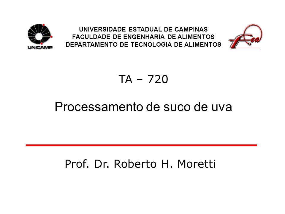 TA – 720 Processamento de suco de uva UNIVERSIDADE ESTADUAL DE CAMPINAS FACULDADE DE ENGENHARIA DE ALIMENTOS DEPARTAMENTO DE TECNOLOGIA DE ALIMENTOS P
