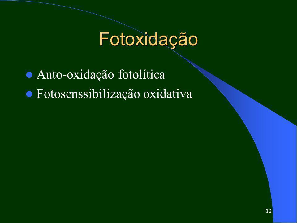 12 Fotoxidação Auto-oxidação fotolítica Fotosenssibilização oxidativa