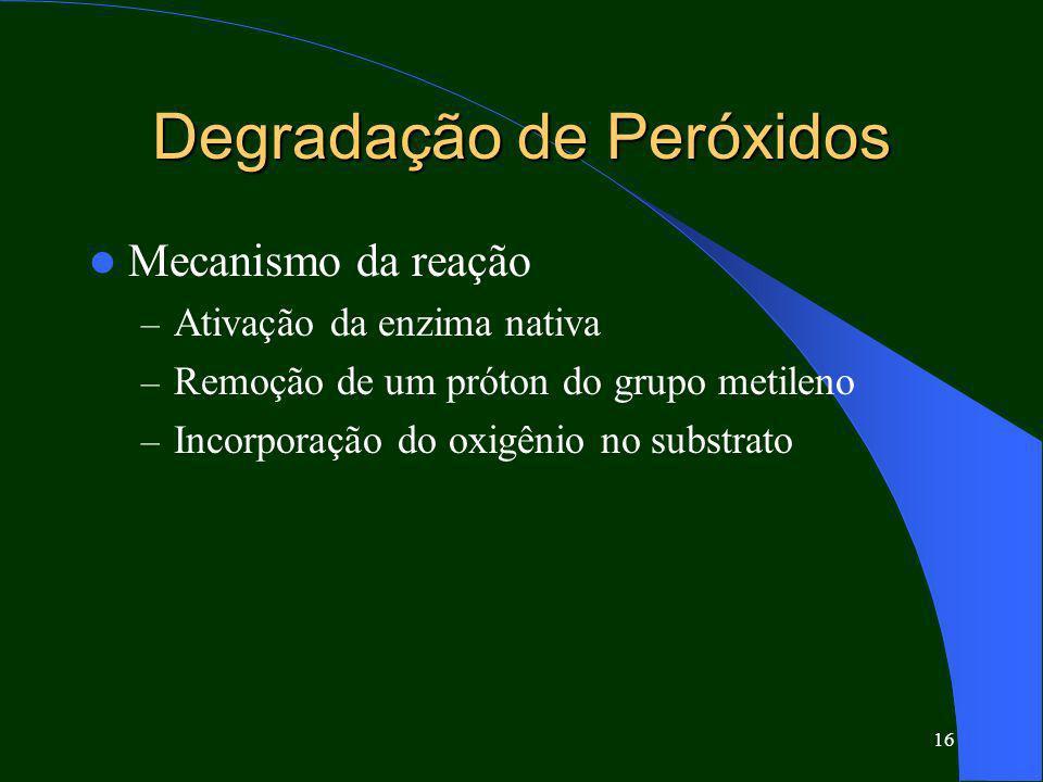 16 Degradação de Peróxidos Mecanismo da reação – Ativação da enzima nativa – Remoção de um próton do grupo metileno – Incorporação do oxigênio no subs