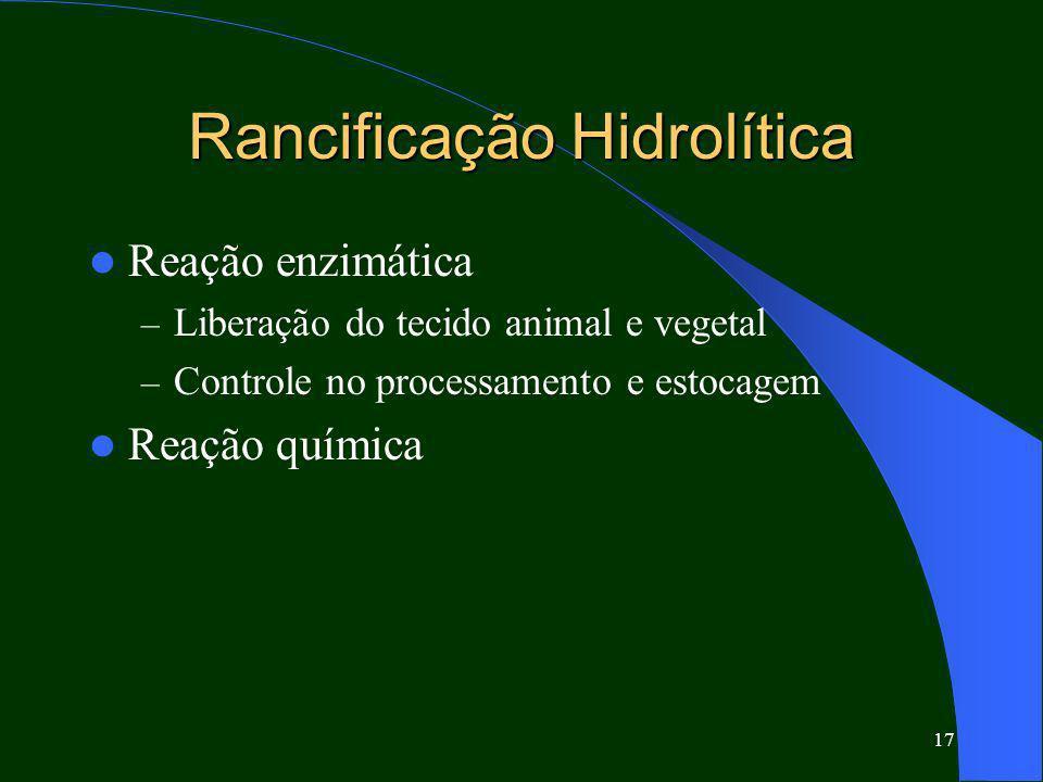 17 Rancificação Hidrolítica Reação enzimática – Liberação do tecido animal e vegetal – Controle no processamento e estocagem Reação química