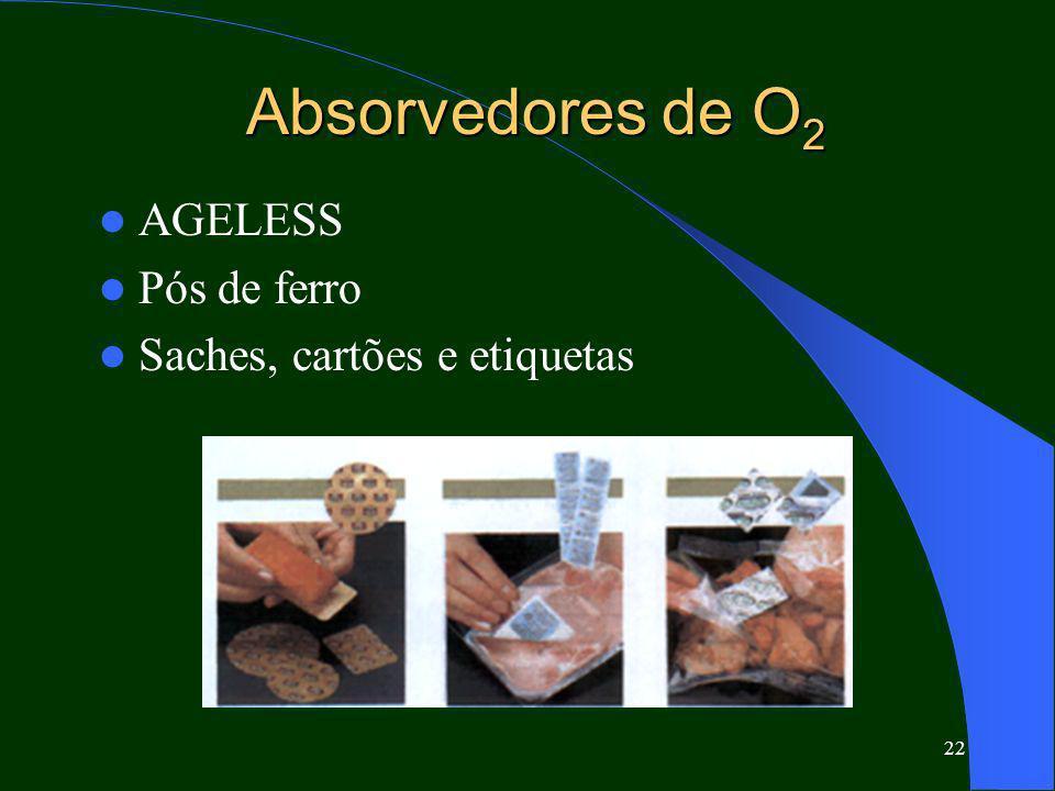 22 Absorvedores de O 2 AGELESS Pós de ferro Saches, cartões e etiquetas