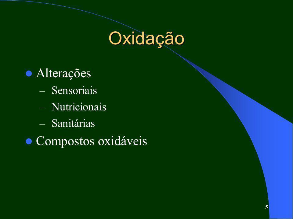 5 Oxidação Alterações – Sensoriais – Nutricionais – Sanitárias Compostos oxidáveis