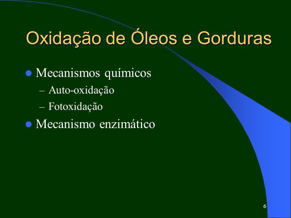 6 Oxidação de Óleos e Gorduras Mecanismos químicos – Auto-oxidação – Fotoxidação Mecanismo enzimático