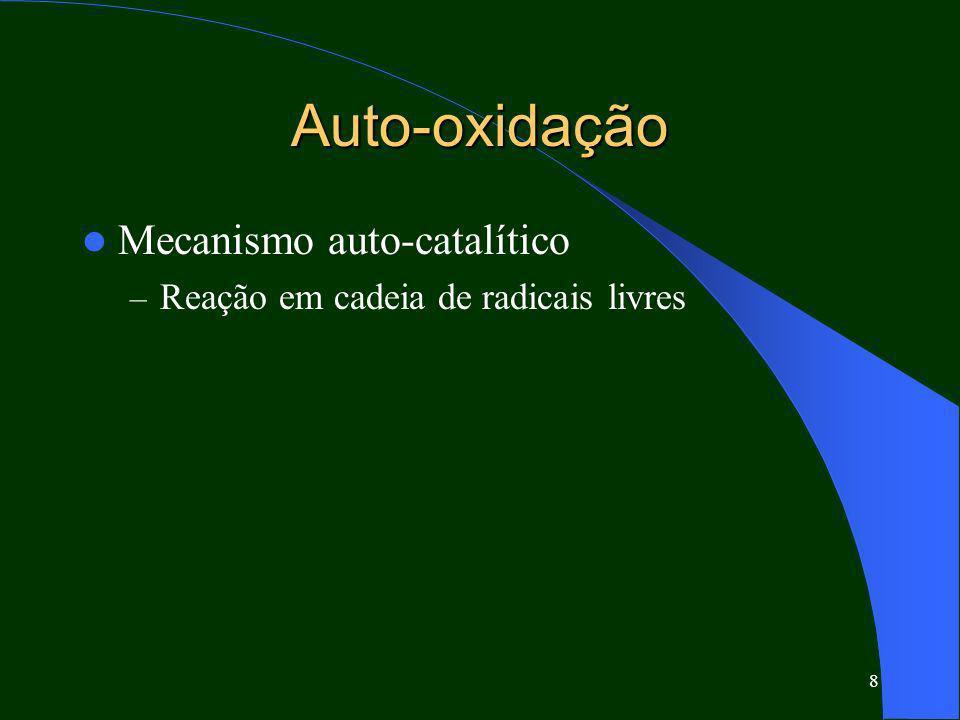 8 Auto-oxidação Mecanismo auto-catalítico – Reação em cadeia de radicais livres