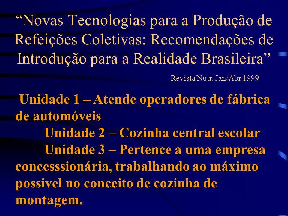 Novas Tecnologias para a Produção de Refeições Coletivas: Recomendações de Introdução para a Realidade Brasileira Revista Nutr. Jan/Abr 1999 Unidade 1
