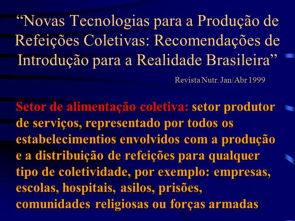 Novas Tecnologias para a Produção de Refeições Coletivas: Recomendações de Introdução para a Realidade Brasileira Revista Nutr. Jan/Abr 1999 Setor de