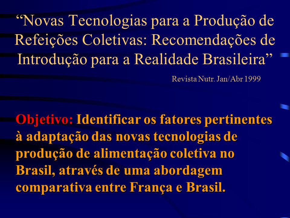 Novas Tecnologias para a Produção de Refeições Coletivas: Recomendações de Introdução para a Realidade Brasileira Revista Nutr. Jan/Abr 1999 Objetivo: