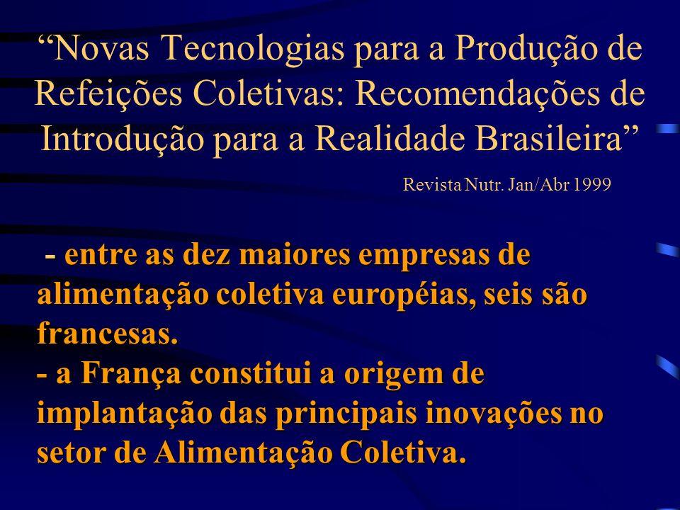 Novas Tecnologias para a Produção de Refeições Coletivas: Recomendações de Introdução para a Realidade Brasileira Revista Nutr. Jan/Abr 1999 - entre a