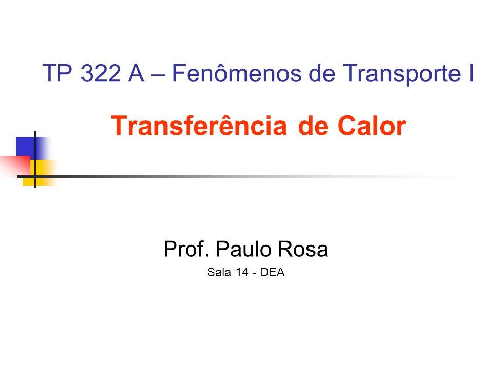 TP 322 A – Fenômenos de Transporte I Transferência de Calor Prof. Paulo Rosa Sala 14 - DEA