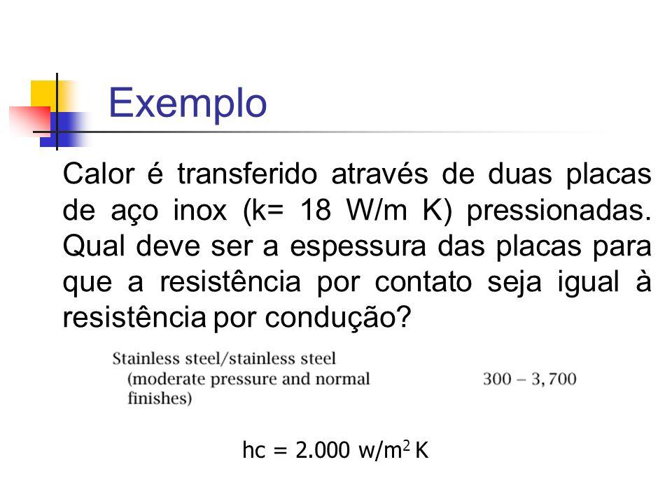 Exemplo Calor é transferido através de duas placas de aço inox (k= 18 W/m K) pressionadas.
