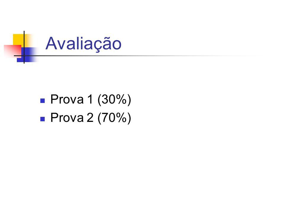 Avaliação Prova 1 (30%) Prova 2 (70%)
