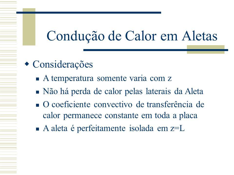 Condução de Calor em Aletas Considerações A temperatura somente varia com z Não há perda de calor pelas laterais da Aleta O coeficiente convectivo de