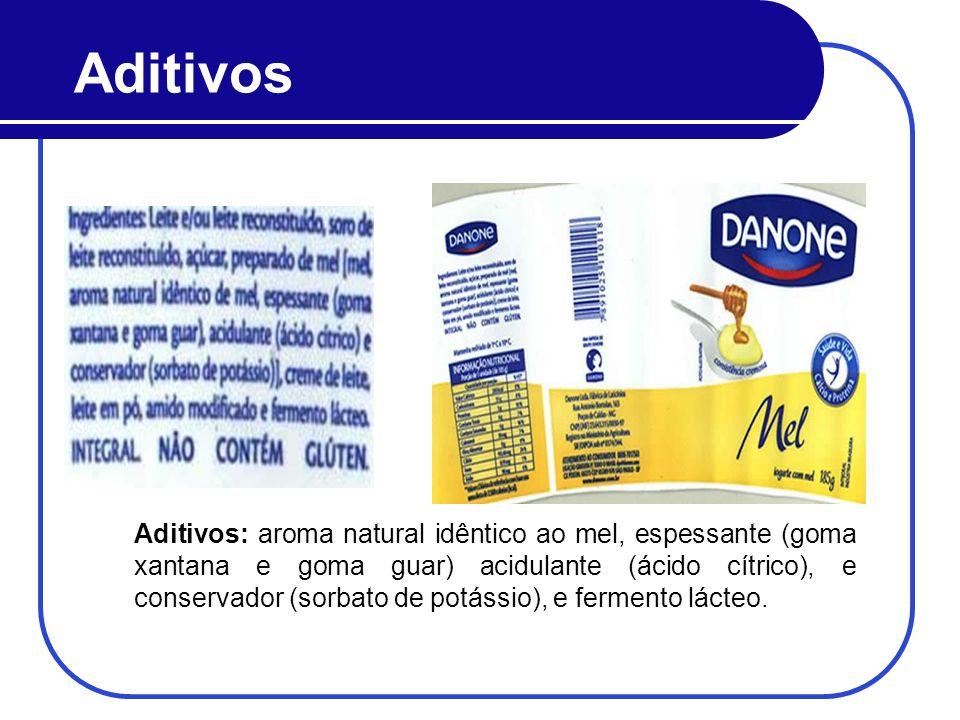 Aditivos Aditivos: aroma natural idêntico ao mel, espessante (goma xantana e goma guar) acidulante (ácido cítrico), e conservador (sorbato de potássio