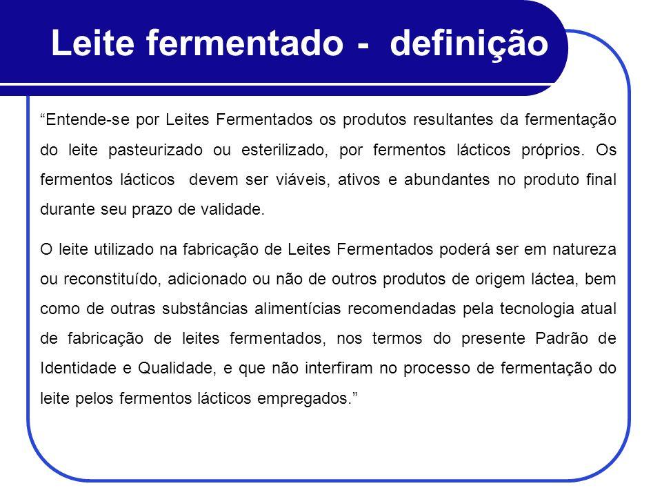 Leite fermentado - definição Entende-se por Leites Fermentados os produtos resultantes da fermentação do leite pasteurizado ou esterilizado, por ferme