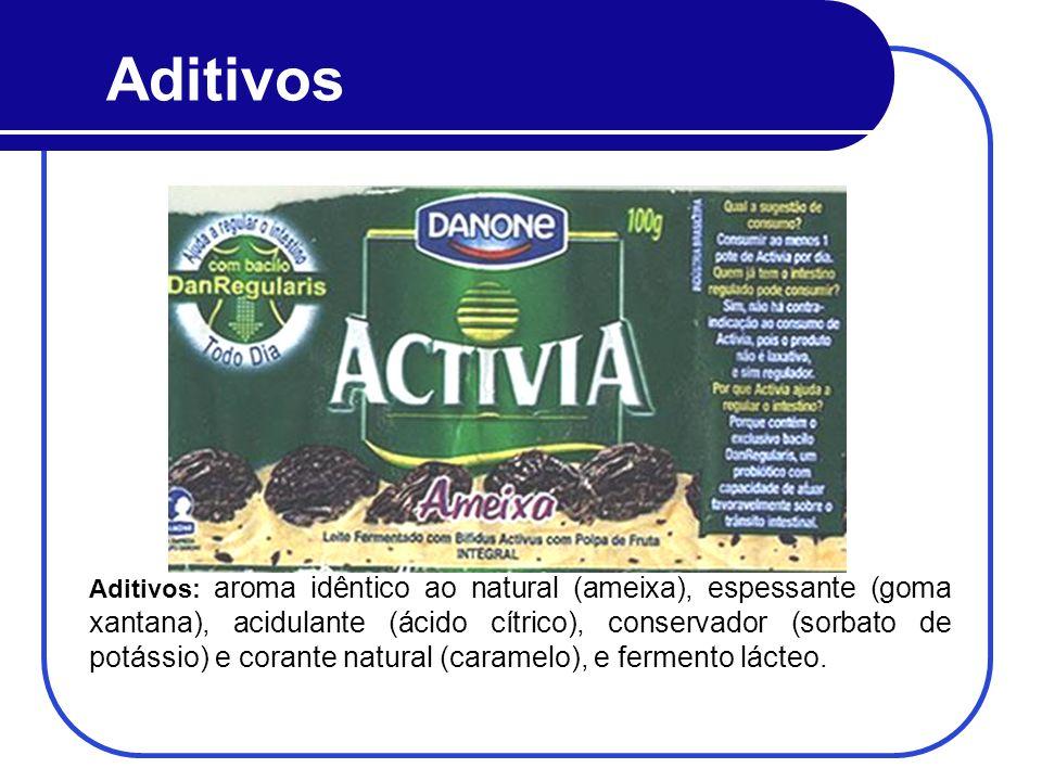 Aditivos Aditivos: aroma idêntico ao natural (ameixa), espessante (goma xantana), acidulante (ácido cítrico), conservador (sorbato de potássio) e cora