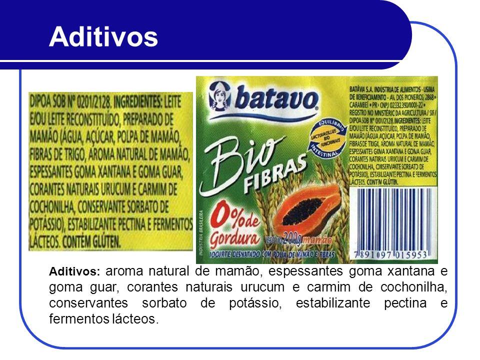 Aditivos Aditivos: aroma natural de mamão, espessantes goma xantana e goma guar, corantes naturais urucum e carmim de cochonilha, conservantes sorbato