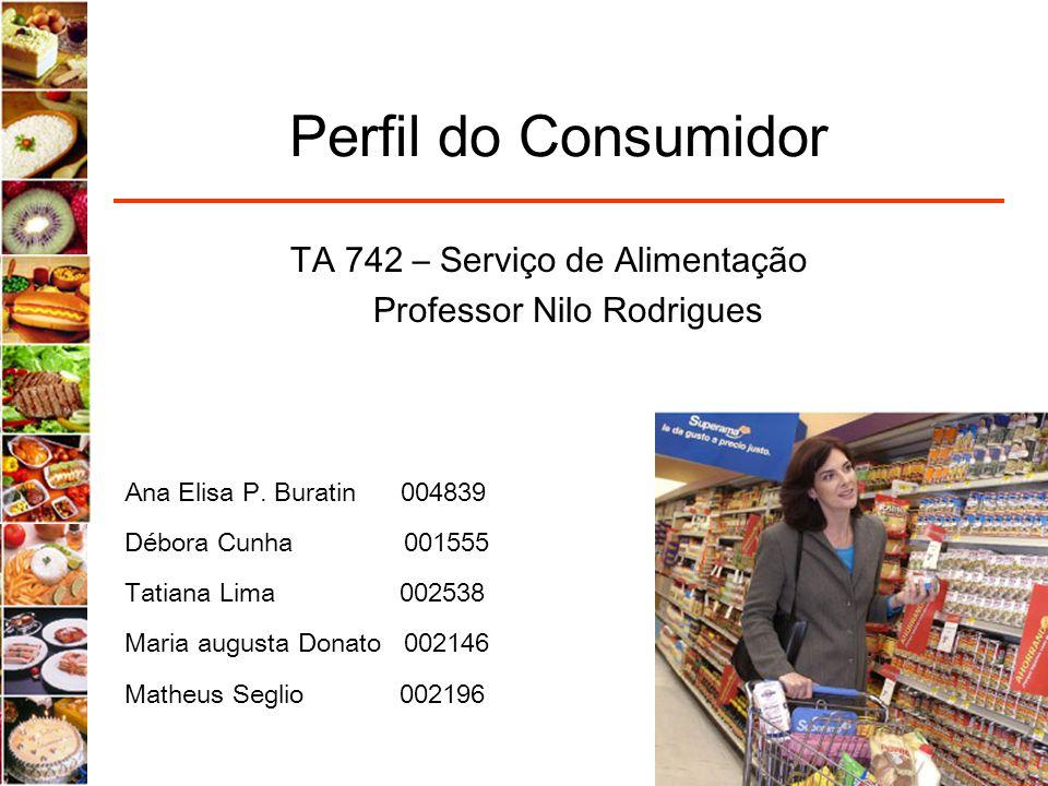 Perfil do Consumidor Ana Elisa P. Buratin 004839 Débora Cunha 001555 Tatiana Lima 002538 Maria augusta Donato 002146 Matheus Seglio 002196 TA 742 – Se