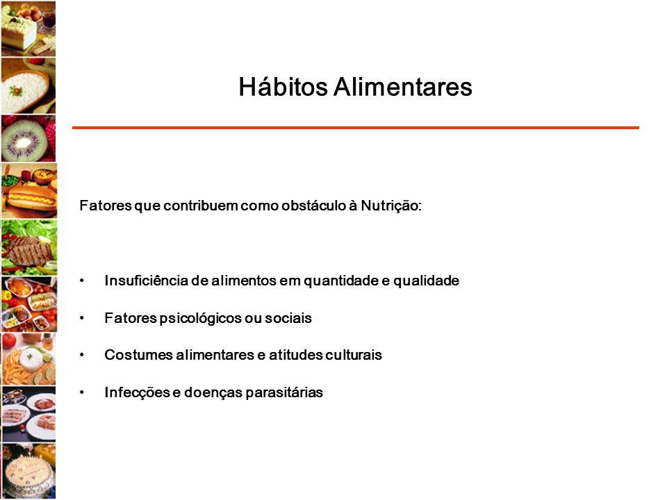Hábitos Alimentares Fatores que contribuem como obstáculo à Nutrição: Insuficiência de alimentos em quantidade e qualidade Fatores psicológicos ou soc