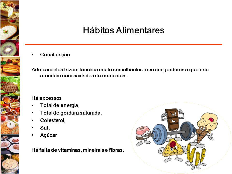 Hábitos Alimentares Constatação Adolescentes fazem lanches muito semelhantes: rico em gorduras e que não atendem necessidades de nutrientes. Há excess