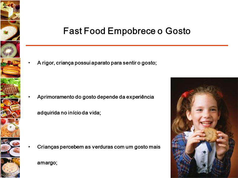 Fast Food Empobrece o Gosto A rigor, criança possui aparato para sentir o gosto; Aprimoramento do gosto depende da experiência adquirida no início da