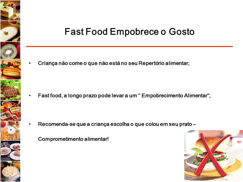 Fast Food Empobrece o Gosto Criança não come o que não está no seu Repertório alimentar; Fast food, a longo prazo pode levar a um Empobrecimento Alime