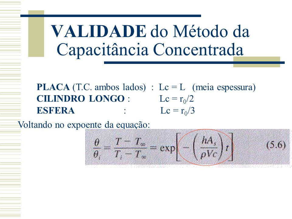 VALIDADE do Método da Capacitância Concentrada PLACA (T.C. ambos lados) : Lc = L (meia espessura) CILINDRO LONGO : Lc = r 0 /2 ESFERA : Lc = r 0 /3 Vo